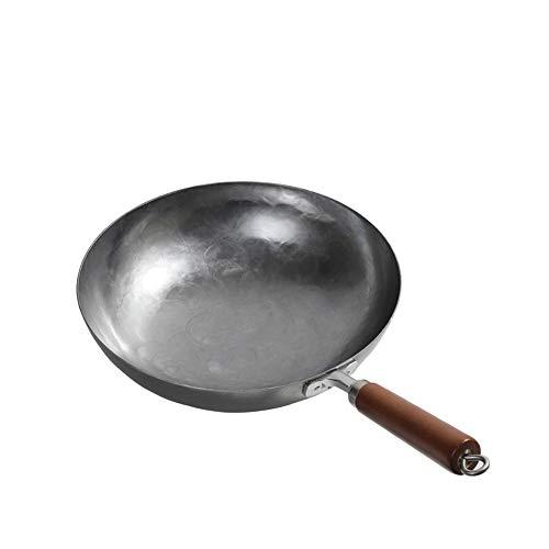 Wok Pentole Artigianale di precisione Forgiatura non rivestito padella di ferro con meno grassa fumo Vecchio stile fornello a gas delle famiglie Wok Pan (Color : Iron, Size : 34cm)
