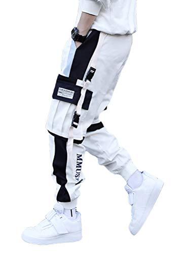 ORANDESIGNE Herren Cargohose Arbeit Kampf Techwear Hose Hip Hop Mehrere Taschen Tapered Hosen Schnalle Riemen Jogginghose Sweatpants (S, D Weiß)