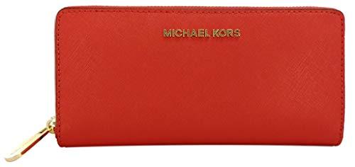 Michael Kors Jet Set Geldbörse Portemonnaie Saffianleder groß Rot Dark Sangria Large