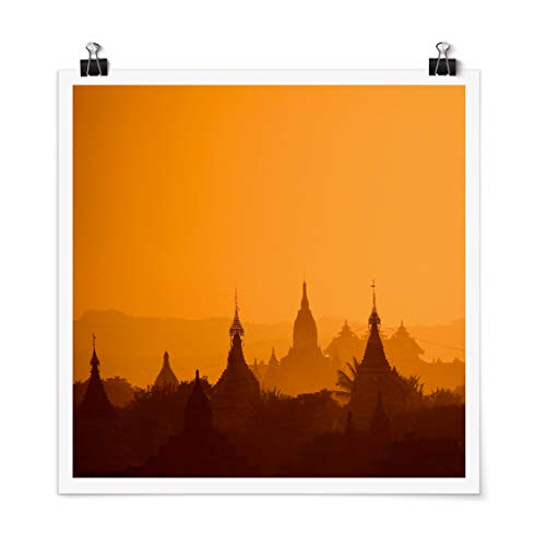 Bilderwelten Poster Cuadro Temple City In Myanmar Cuadrado, Mate 50 x 50cm