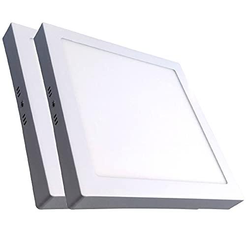 Pack 2x Plafon LED Cuadrado Superficie 24w. Color Blanco Frio (6500K). 2200 Lumenes. A++
