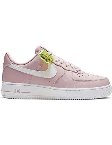 Nike Wmns Air Force 1 '07 SE, Scarpe da Basket Donna, Stone Mauve/White/Vivid Purple/Lemon Venom, 38.5 EU