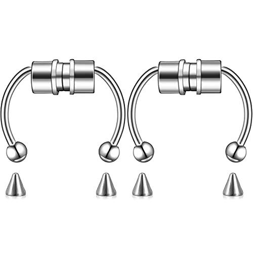 2 Pezzi Anello Magnetico del Naso del Setto Cerchio Finto a Ferro di Cavallo Anelli Nasali Riutilizzabili in Acciaio Inossidabile per Donna Uomo (Argenteo)