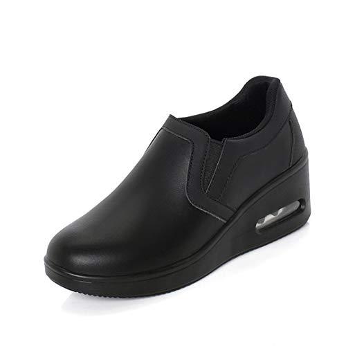 Mocasines Casuales para Mujer Impermeable Punta Redonda Plataforma Baja Zapatillas de tacón Oculto Damas Caminar Zapatos de cuña Antideslizantes