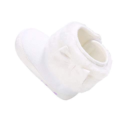 LUOEM Paar weiche Baby Stiefel Schuhe Infant Neugeborene Booties Kleinkind Winter Warme Prewalker für Jungen Mädchen 12 cm (Weiß)