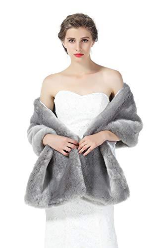 BEAUTELICATE Estola Chal Pelo Mujer Boleros Mantón para Fiesta Bodas Novia Invierno Vestido de Noche S76