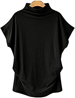 Women Casual Turtleneck Short Batwing Sleeve Blouse Female Cotton Solid Plus Size Tops Ladies Shirt Clothing (Color : Blac...