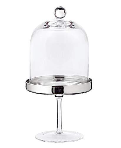 EDZARD Bonboniere, Bonbonglas auf Fuß, Höhe 20 cm, mundgeblasenes Kristallglas mit Platinrand, Glasdose mit Deckel