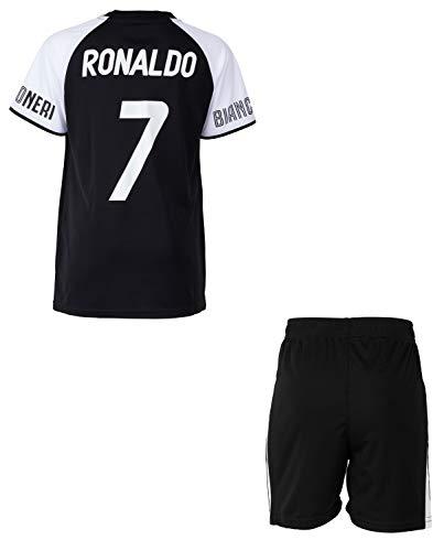 Completo maglia + pantaloncini JUVE - Cristiano Ronaldo - Collezione ufficiale Juventus, Bambina, Nero , 14 anni
