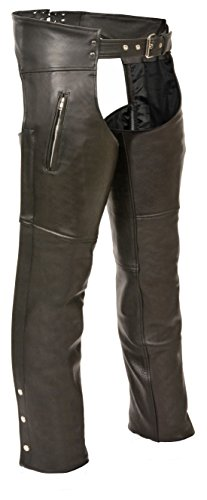 Milwaukee Leather - SH1190-BLACK-M SH1190 Men's Black Leather Chaps with Zippered Thigh Pockets - Medium