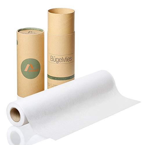 Amazy Bügelvlies für leichte Stoffe (weiß | 80 g/m2) – Bügeleinlage zum Verstärken von Kleidung, Decken und Taschen, für Applikationen und Patchwork (9 x 0,4 m)