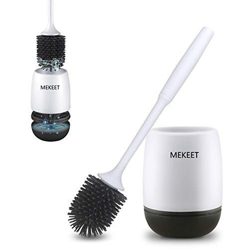 MEKEET Silicone Toilet Brush and Holder,Bathroom Toilet Brush Holder Set,Silicone Toilet Cleaning...