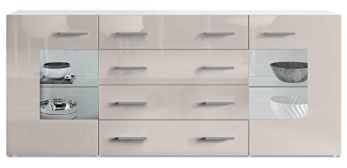 Vladon Sideboard Chest of Drawers Grömitz V2, Carcass in White matt/Fronts in Sand grey High Gloss