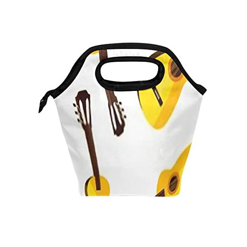 Bolsa de almuerzo reutilizable y bolsa más fresca Vector de patrones sin fisuras Guitarras acústicas Bolsa clásica y suave para las actividades diarias Ideal para acampar al aire libre o para