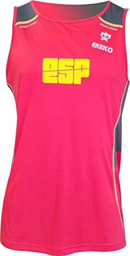 Camiseta Tecnica de Tirantes EKEKO BULLETMAN, Detalles Reflectantes, Paneles Laterales y Superior en Tejido microperforado. (XL, ROJA ESPAÑA)
