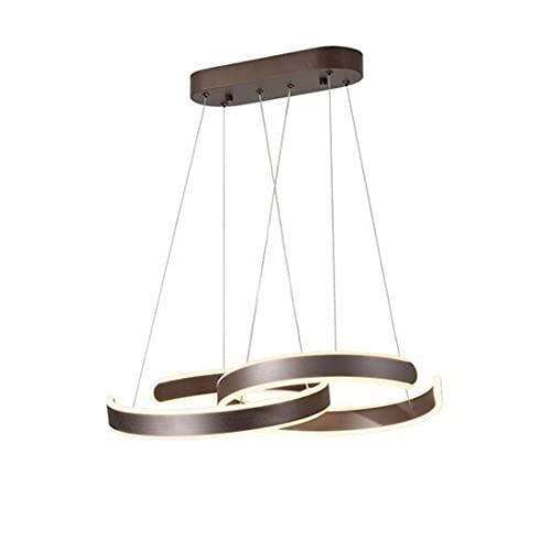 Marrón LED Lámpara de colgante plafón Sala de estar Comedor con control remoto Ronda anillo 40+40cm luz ajustable Lámpara de Araña para dormitorio Cocina Bar Estudio Lámpara Luz de techo Luz justable