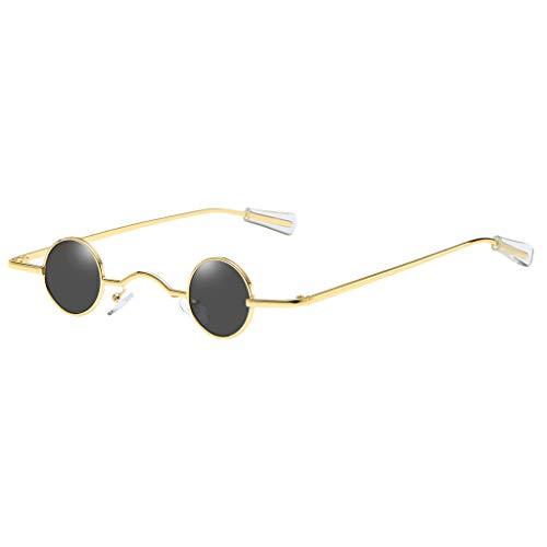 Lazzboy Sonnenbrille Runde Polarisierte Schutz Form Mann Frauen Hip Hop Brillen Shades Vintage Retro(Gold)