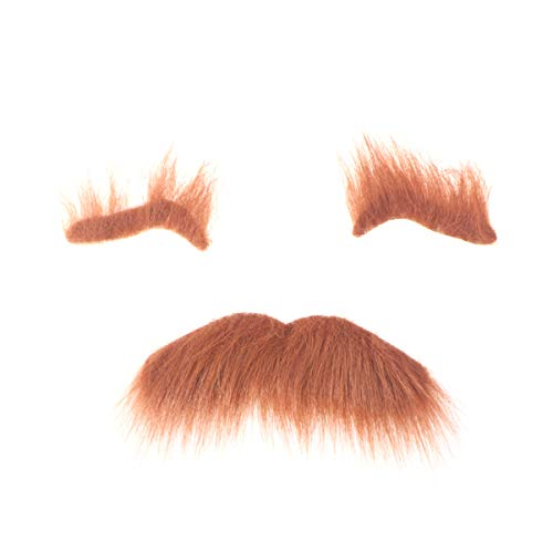 ABOOFAN Falsa barba cejas autoadhesivas novedad bigotes peludos Cosplay Props- Kit de bigotes falsos para Halloween, fiesta de disfraces de máscaras, color marrón