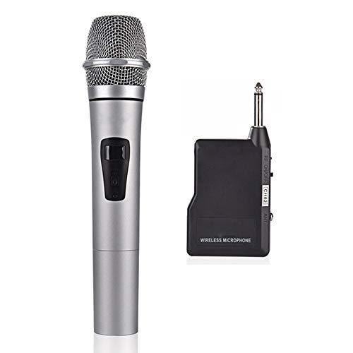 Draadloos Houvast Microfoon Systeem, VHF Draadloze Dynamische Microfoon Set Met 1 Mini Draagbare Ontvanger En 1 Handheld Mic, Universal Speakers Voor Karaoke Nights, Huisfeesten,Gray