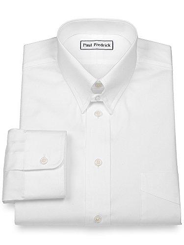 Paul Fredrick Men's Pinpoint Snap Tab Collar Button Cuff Dress Shirt White 16.5/35 115