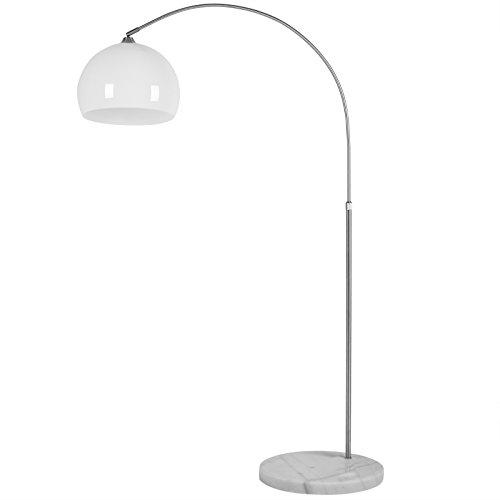 Deuba Design Bogenlampe höhenverstellbar 146-220cm standfestem Marmorfuß Fußschalter Stehlampe Stehleuchte Bogen Leuchte