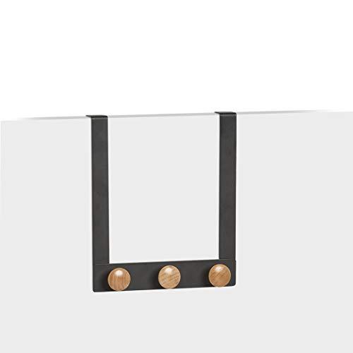 Zeller 13813 - Appendiabiti per porta, in metallo e legno, circa 24,5 x 5 x 25 cm, colore: Nero