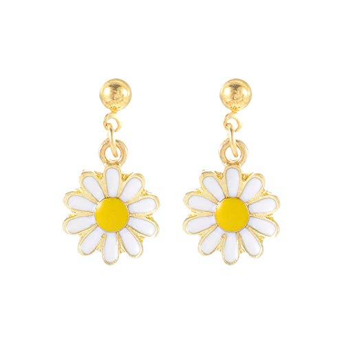 Pendientes pequeños cortos de flor de margarita fresca coreana pendientes de flores clásicas de moda pendientes