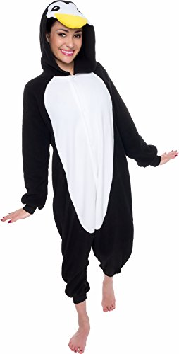 Silver Lilly Unisex Adult Pajamas - Plush One Piece Cosplay Penguin Animal Costume (Black/White, Small)