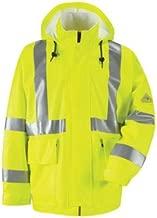 Bulwark JXN4YE High Visibility Fire Resistant Rain Jacket Yellow w Silver Stripe