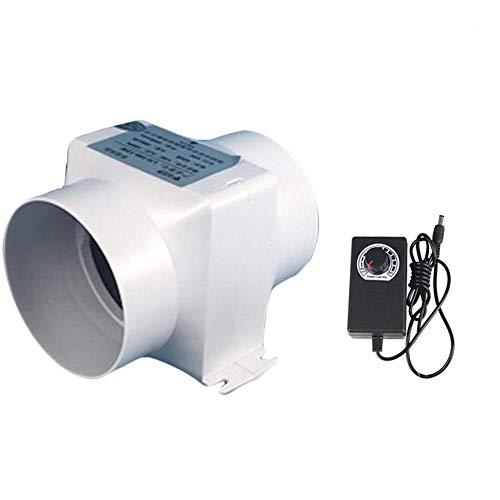 100mm Ventilador de Conducto en Línea de Alta Eficiencia Extractor de Aire Sistema 12V, 13W Extractor de Aire Silencioso con Controlador de Velocidad Variable, Blanco,Adjustable