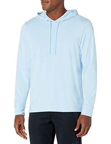 Amazon Brand - Peak Velocity Men's Pima Cotton Lightweight T-Shirt Hoodie, Sky Blue, Medium