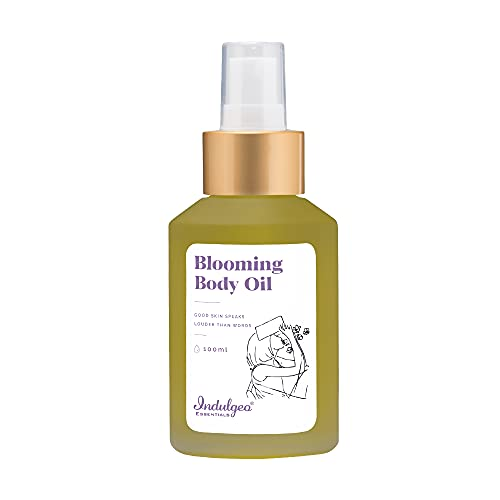 Indulgeo Essentials Blooming Body Oil (100 mL) For Children & Teenager | Treats Dry, Dull, Dark Areas of Skin Like Underarms & Thighs, Prevents From Scars In Growing Children | Thigh & Underarms Brightening | For All Types Of Skin | After Bath Oil | Indian Tulsi, Bearberry Extract, Olive Squalane & Tea Tree Oil | No Parabens & Sulphates, Ayush Certified, Cruelty-Free, 100% Organic | Safe