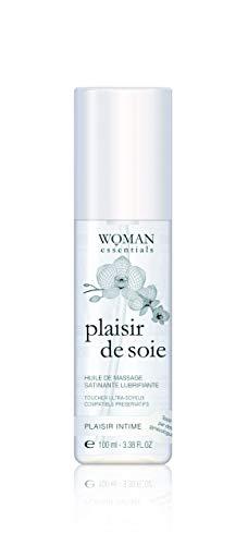 Woman Essentials - PLAISIR DE SOIE Diep en Langdurig Vochtinbrengende Massageolie en Intiem Glijmiddel 100 ml.100% gemaakt in Frankrijk.
