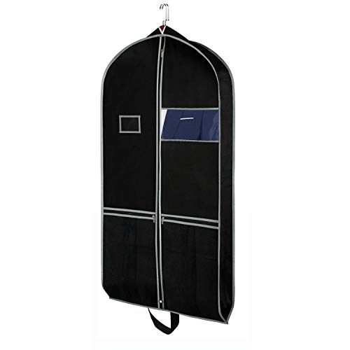 Zilink Breathable Garment Bags Suit Bags for Travel 43' Dress Suit Cover with 2 Large Mesh Pockets and a PVC Card Holder, Black