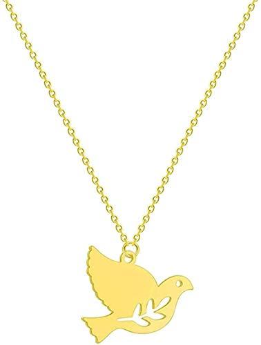 Yiffshunl Collar de Moda de Acero Inoxidable para Mujer, Collar en Forma de S, Luna Creciente, Girasol, Infinito, Lobo, León, Paloma, pájaro, Colgante de Amor, Collar, Regalo de joyería