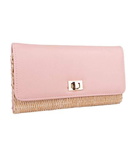 SIX Damen Portemonnaie, Geldbörse aus geflochtenem Bast mit Pastellfarbener rosa Klappe aus veganem Leder mit goldenen Details (703-588)
