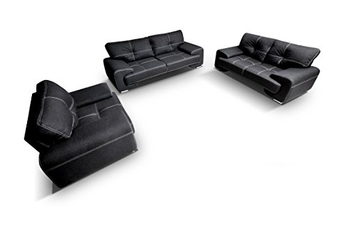 mb-moebel Polstergarnitur Sofa Set 3er & 2er & Sessel 3-2-1 Wohnlandschaft 3-Sitzer und 2-Sitzer Möbel Set - ENZO (Schwarz)