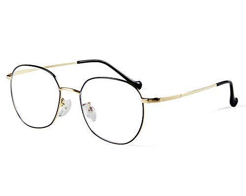 Effnny Bloqueo de luz azul Gafas anti fatiga filtro UV juegos de computadora monturas de gafas de lectura Para hombres mujeres (negro/Oro/1915)