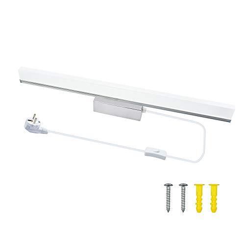 Luxvista 57CM 9W Lámpara de Aplique Espejo Baño LED Interior, Luz de Pared Maquillaje con Puro Diseño Moderna Cuarto de Baño Delantera Lámpara Impermeable con Interruptor Cableado (Luz Cálido,