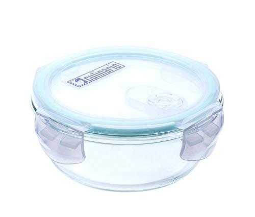 Culinario Cloc Frischhaltedose aus Glas, 400 ml, rund, mit Mikrowellendeckel, bis 400°C hitzebeständig