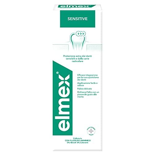 Elmex Collutorio Sensitive, Protezione Extra dai Denti Sensibili e dalla Carie Radicolare - 1 Flacone da 400 ml