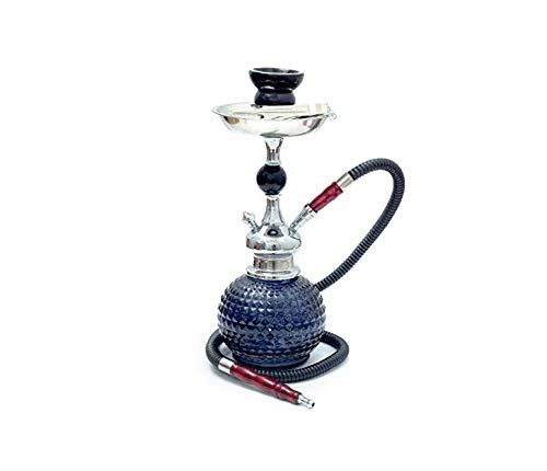 Shisha 34cm Oasis mit 1 Schlauch mit Holz-Enden, Keramik Feuerschale und Pinzette schwarz