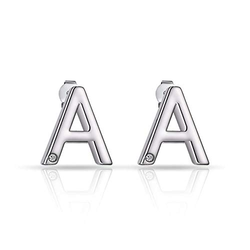 Initial Earrings Letter A Created with Austrian Crystals