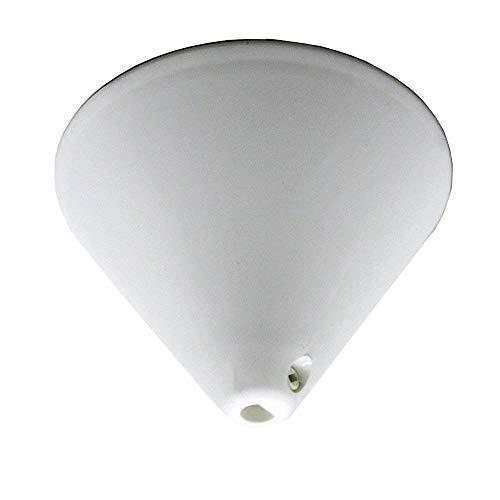 Baldaquino de plástico blanco de 110 mm de diámetro con tornillo de bloqueo para cable, lámpara colgante en forma de cono y pirámide