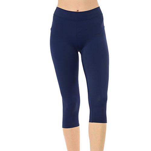 Anza Girls Active Wear Gym Workout Yoga Dance Capri Leggings-Navy,Large(12/14)