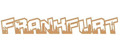 Samunshi® Autoaufkleber Frankfurt Schriftzug Skyline Aufkleber in 9 Größen und 25 Farben (25x3,5cm hellbraun)
