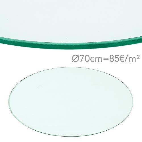 Rapid Teck® 85€/m² Glasplatte Rund Durchm. 700 mm Glastisch Tischplatte aus gehärtetem Glas Tisch Glasscheibe 8mm Dick
