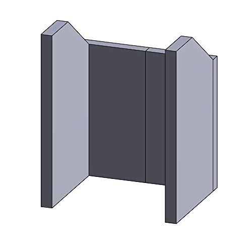Flamado Feuerraumauskleidung Komplettset 4-teilig passend für Hark Kamin Ersatzteile Kaminofen Brennraumauskleidung Schamotte 1.350°C