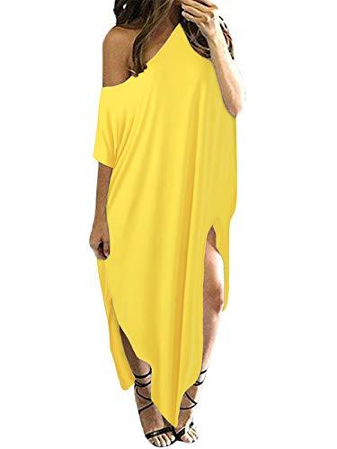 ZANZEA Women Off Shoulder Maxi Dress Beach Long Dress Oversized Casual Loose Kaftan Summer Beach Cover Up Yellow S