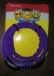 Schwinn Kids Emoticon Combo Bike Lock Kids Combination Lock Purple Bike Lock